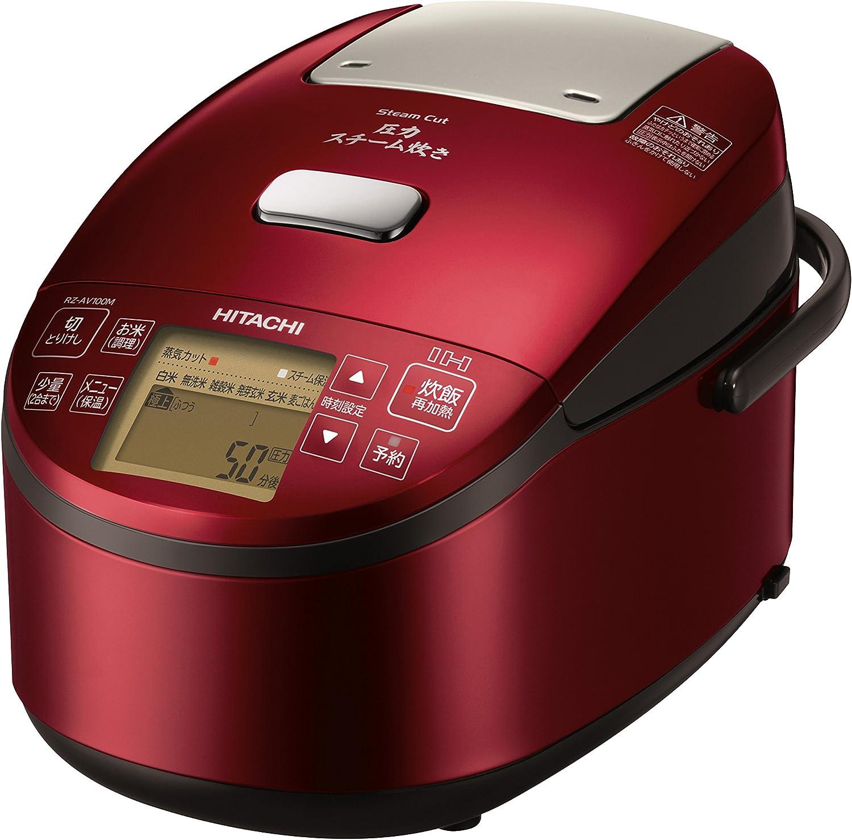 日立 炊飯器 5.5合 圧力&スチームIH ふっくら御膳 日本製 打込鉄釜 蒸気カット RZ-AV100M R メタリックレッド