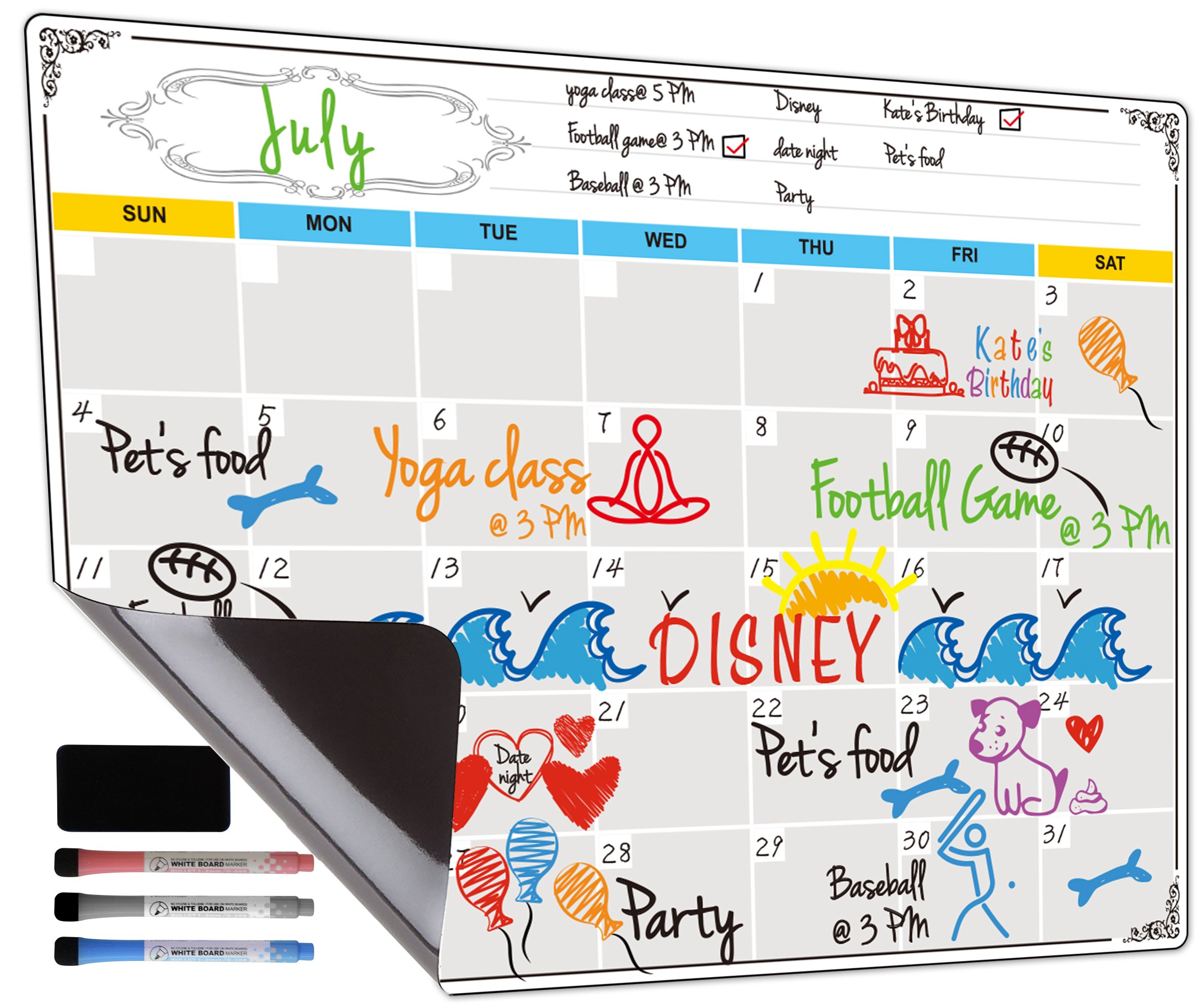 Dry Erase Calendar, Fridge Magnetic Calendar, White Board Planner for Refrigerator, Monthly & Weekly Set by Jancosta (MPB11) by Jancosta