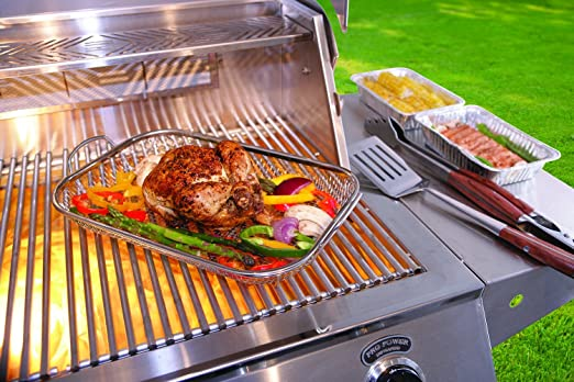 Mr. BBQ Stainless Steel Mesh Roasting Pan with Built in Stainless Steel Handles - Perfect for Cooking Vegetables, Stir Fry, Seafood and More - Great ...