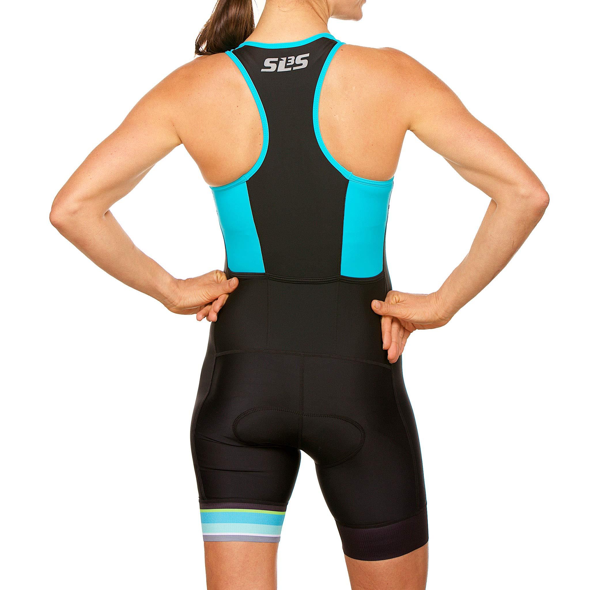SLS3 Women`s Triathlon Tri Race Suit FRT | Womens Trisuit | Back Pocket Triathlon Suits | Anti-Friction Seams | German Designed (Black/Martinica Blue, XS) by SLS3 (Image #6)