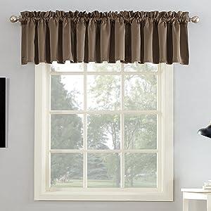 "Sun Zero Barrow Energy Efficient Rod Pocket Curtain Valance, 54"" x 18"", Mocha Brown"
