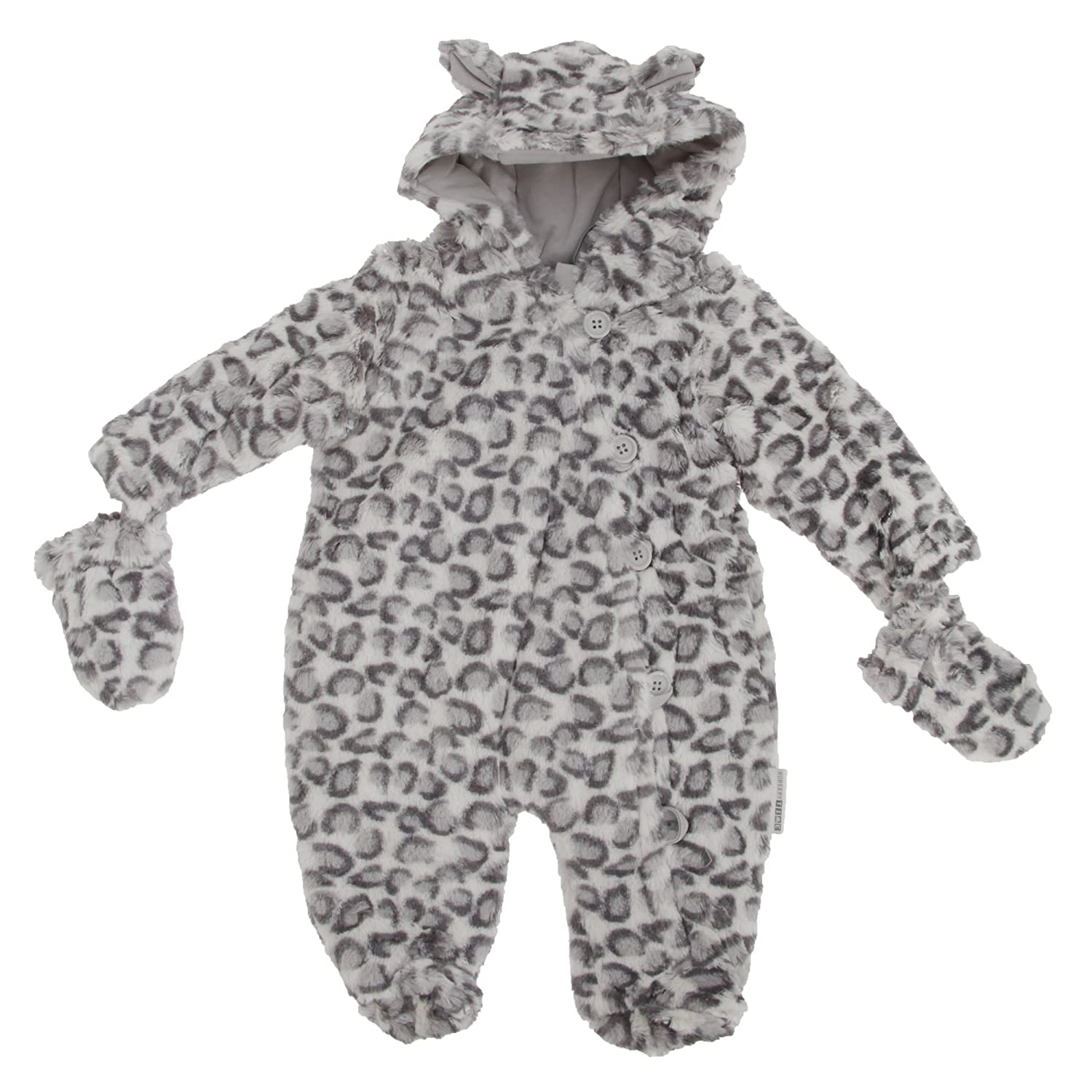 Baby Unisex Snow Leopard Button-Up All In One Hooded Winter Snowsuit (Newborn) (Snow Leopard) Universal Textiles UTBABY1033_3