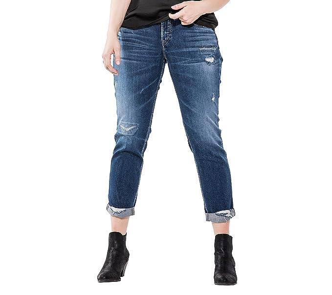 63625823 Silver Jeans CO. Women's Plus Size Sam Mid Rise Boyfriend Jeans, Medium  Repair Stitch