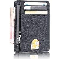 Slim Wallet - Minimalist Front Pocket RFID Blocking Leather Wallets for Men & Women - Grain Black by Stazh