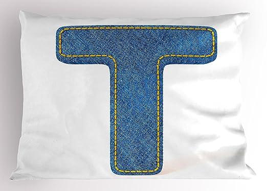 Letra T almohada Sham por Ambesonne, diseño de alfabeto con ...