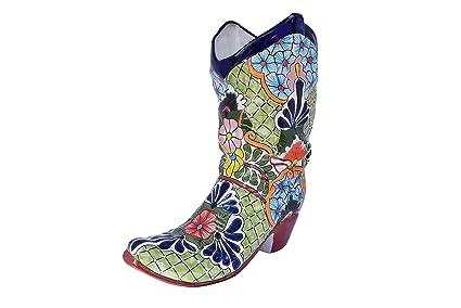 Cowboy Boot Planter Ceramic Decor Talavera Home Kitchen Patio Garden