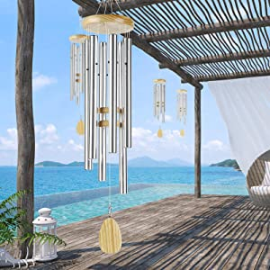 """Noble House Wind Chimes,42"""" Tuned Wind Chimes,Large Wind Chimes, Both Indoor Decor and Outdoor Decor in Your Garden,Yard and Patio (Silver)"""