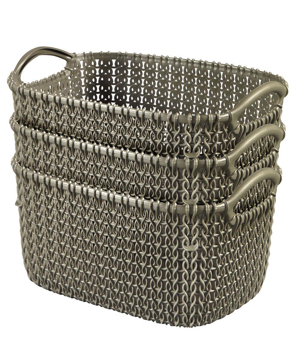 Keter Curver Knit Style Round X-Small 3-Piece Nesting Resin Plastic Storage Basket Set, Misty Blue 231981