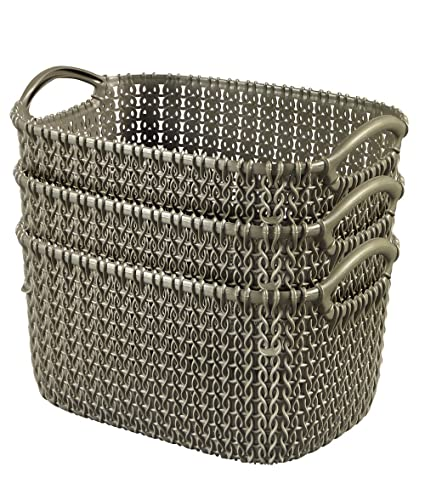 Superior Keter Curver Knit Style Small Nesting Storage Baskets Resin Plastic  Rectangular 3 Piece Set,