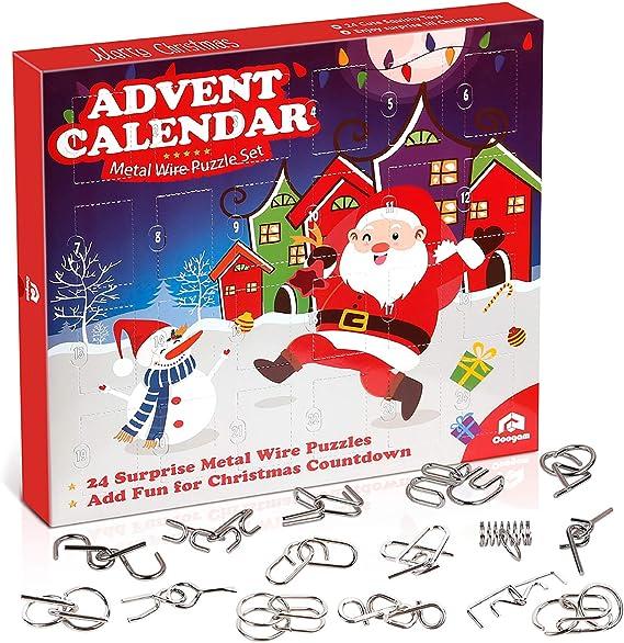 shenruifa Christmas Advent Calendar 2020 Countdown Calendar Toys 24PCS Unlock Metal Wire Educational Toy Decorative Gift Box Set Brain Teasers Gift for Kids Boys Girls