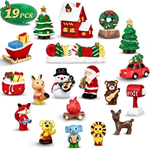 Unomor 19PCS Christmas Miniature Figurines Kit with Santa Claus, Snowman, Christmas Trees and Animals Ornaments for Fairy Garden Dollhouse Decorations, Christmas Snow Globe Crafts