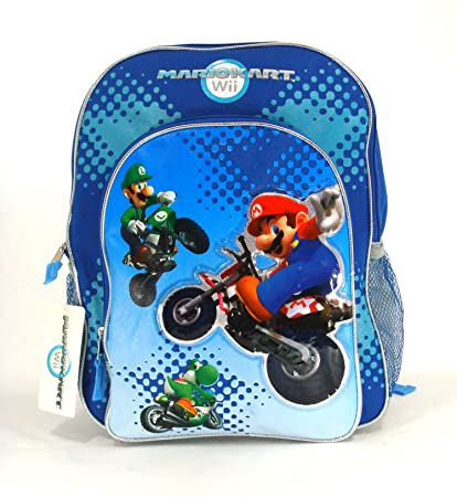 304b14a22ad7 Amazon.com   Full Size Blue Motorcycle Mario Kart Kids Backpack   Mario    Toys   Games