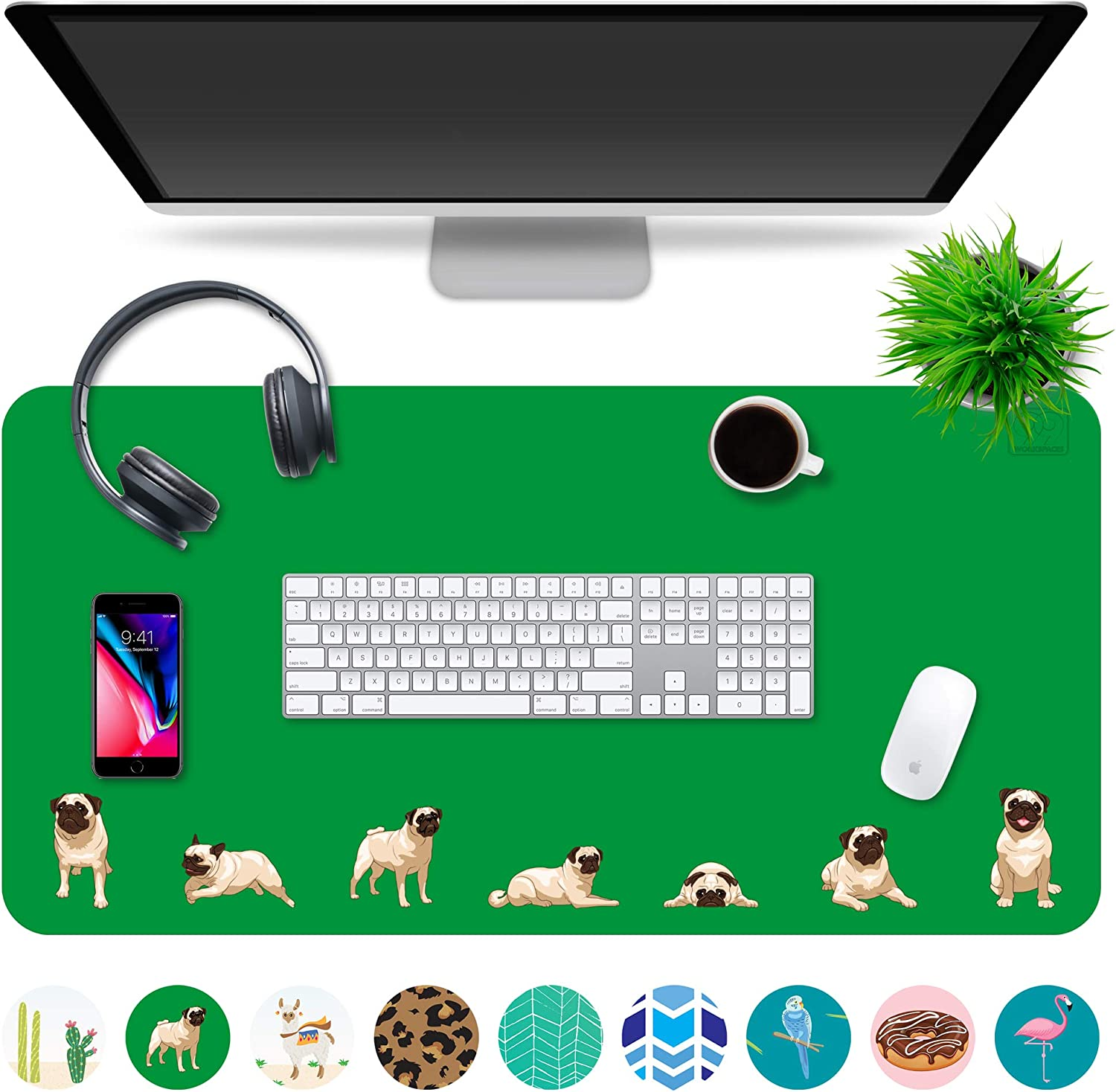 "Multipurpose Office Desk Pad and Computer Desk Mat - Waterproof Office Desk Mat and Desk Blotter Pad - Home Office Accessories (Large (35.5"" x 17.5""), Pugs)"