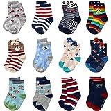 Baby Anti Slip Socks Non Skid Soft Cotton Ankle Socks with Grip For Kids Toddler Boys