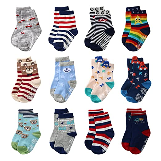 a53d87865a5 Amazon.com  Baby Boys Anti Slip Socks Non Skid Soft Cotton Ankle Socks with  Grip For 12-36 Months Kids Baby Toddler by Sanaigoora (12-36 Months