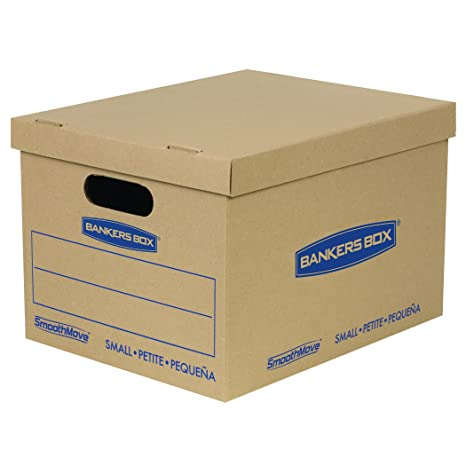 Bankers Box SmoothMove Classic Moving Boxes, Tape-Free Assembly, Small, 15 x 12