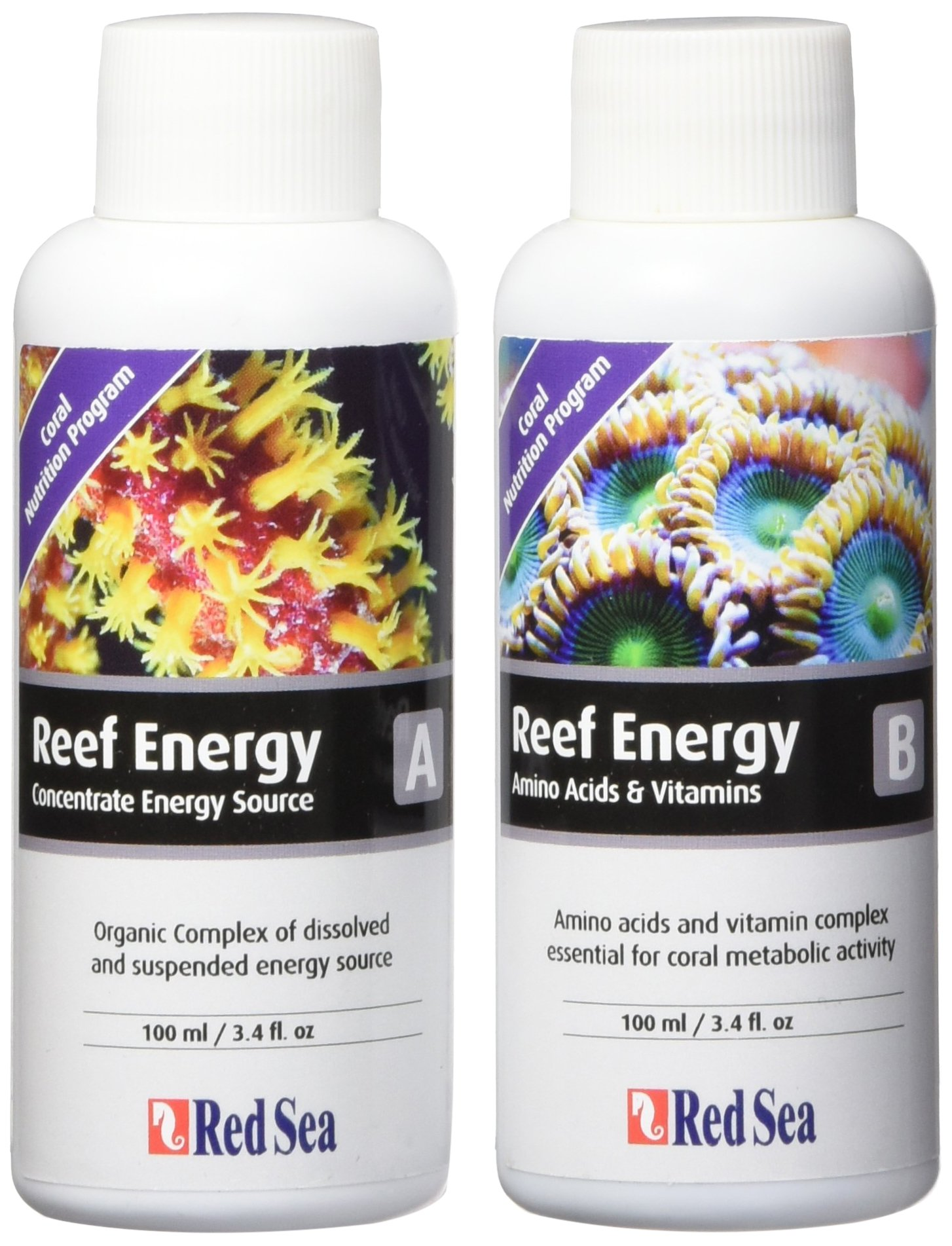 Red Sea Fish Pharm ARE22080 2-Pack Reef Energy A and B Supplements for Aquarium, 100ml - Packaging may vary