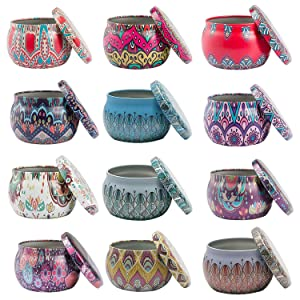MFDSJ 12 Pack DIY Colorful Candle Tin Jars,4.4OZ Reusable Round Storage Containers, for Candle DIY Arts and Crafts Storage & Decor More