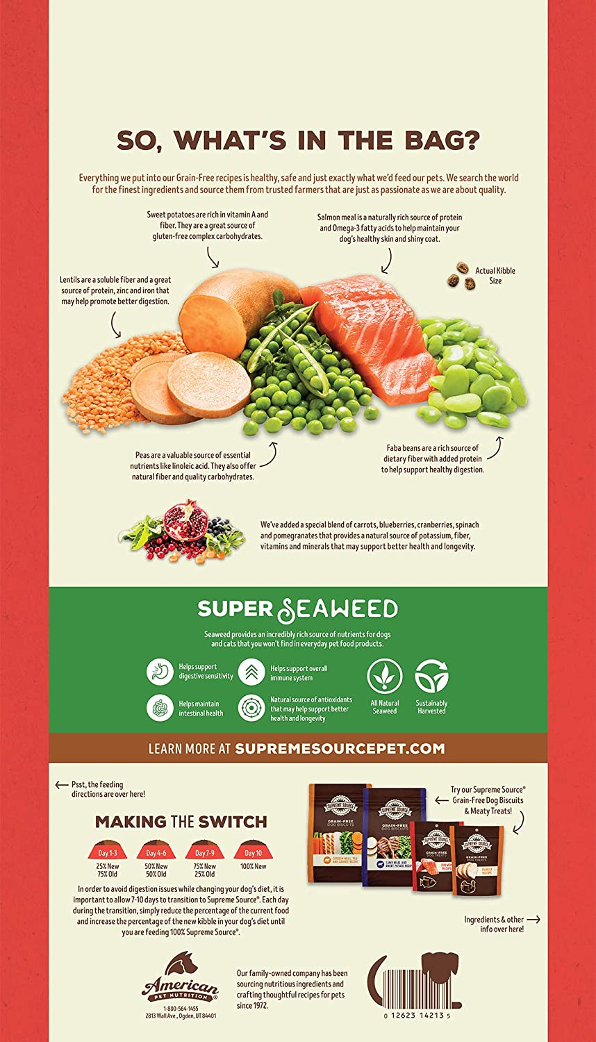Supreme Source Premium Dry Dog Food Grain Free, USDA Organic Seaweed, Protein, Salmon and Sweet Potato Recipe for All Life Stages. Made in The USA.