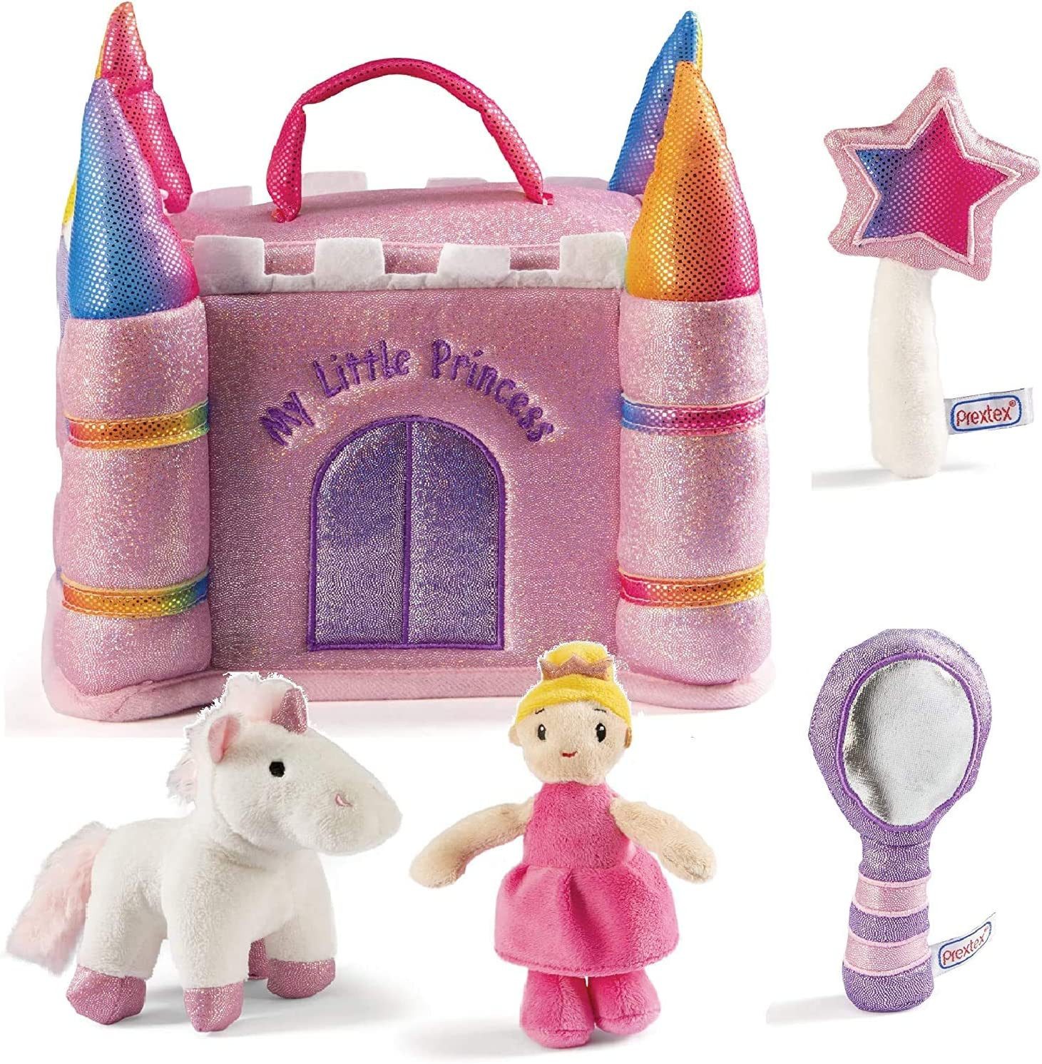 Prextex Princess Castle House Playset with Plush Unicorn, Wand, Mirror and Princess Toys for 1 Year Old Girls