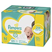 Diapers Newborn / Size 0 (< 10 lb), 120 Count - Pampers Swaddlers Disposable Baby Diapers, ONE MONTH SUPPLY
