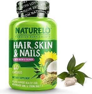 NATURELO Hair, Skin & Nails vitamins - 5000 mcg Biotin, Natural Collagen, Organic Vitamin C - Best Supplement for Faster Hair Growth for Women - Hair Loss Treatment for Men - No Sugar - 60 Capsules