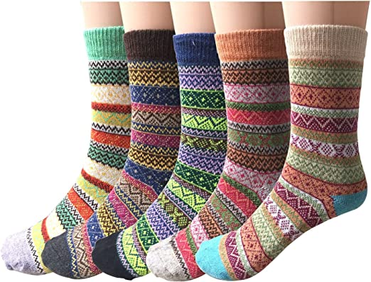 5 Pack Womens Wool Socks Winter Warm Vintage Thick Knit Wool Cozy Crew Socks Gifts