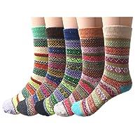 5 Pairs Womens Socks Wool Thermal Warm Knitting Ladies Socks for Winter