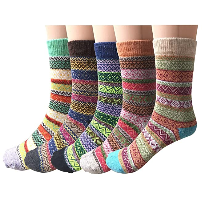 Pack of 5 Womens Vintage Style Cotton Knitting Wool Warm Winter Fall Crew Socks, Mixed Color 1, One Size - fit shoe sizes from 5-10 best boot socks