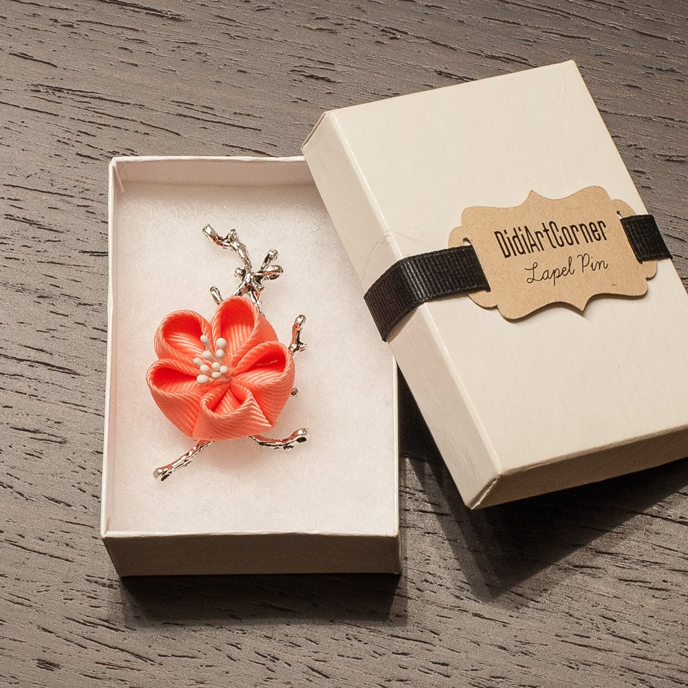 Coral Cherry Blossom Sakura Blossom Flower Lapel Pin
