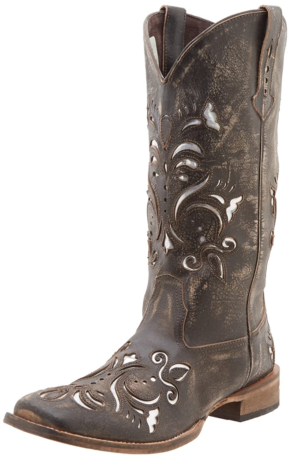 Amazon.com | Roper Women's Metallic Underlay Western Boot | Mid-Calf