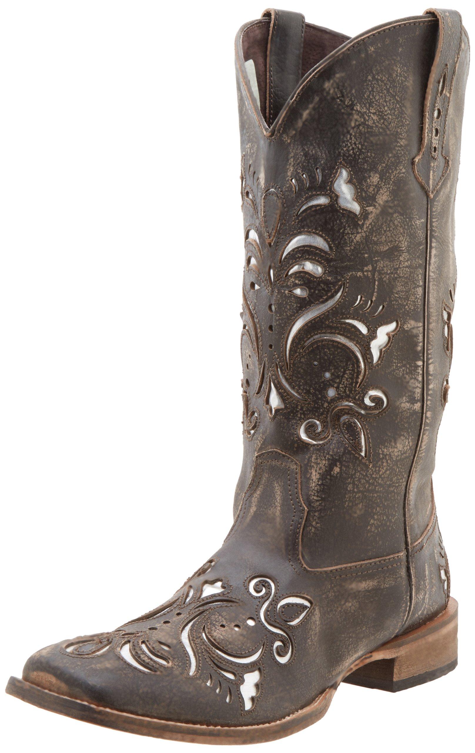 Roper Women's Laser Cut Metallic Underlay Boot Tan/Silver 7 M