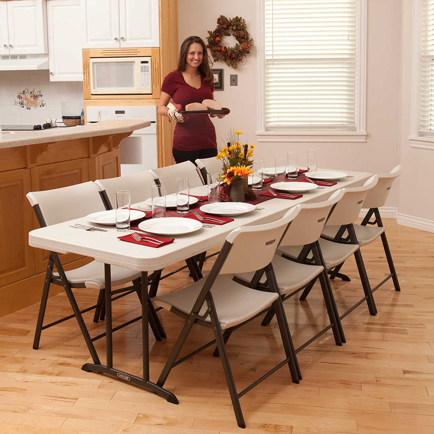 Lifetime Fold In Half Utility Table Almond 8 Foot Amazon