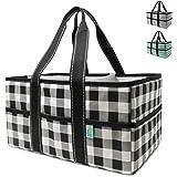Early Hugs Baby Diaper Caddy Organizer, Nursery Storage, Baby Gift Basket, Black & White Plaid