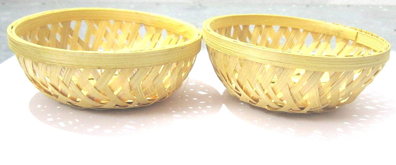 IMPRINT Multipurpose Small Bamboo Basket (10-Cm Dia, Set of 2)