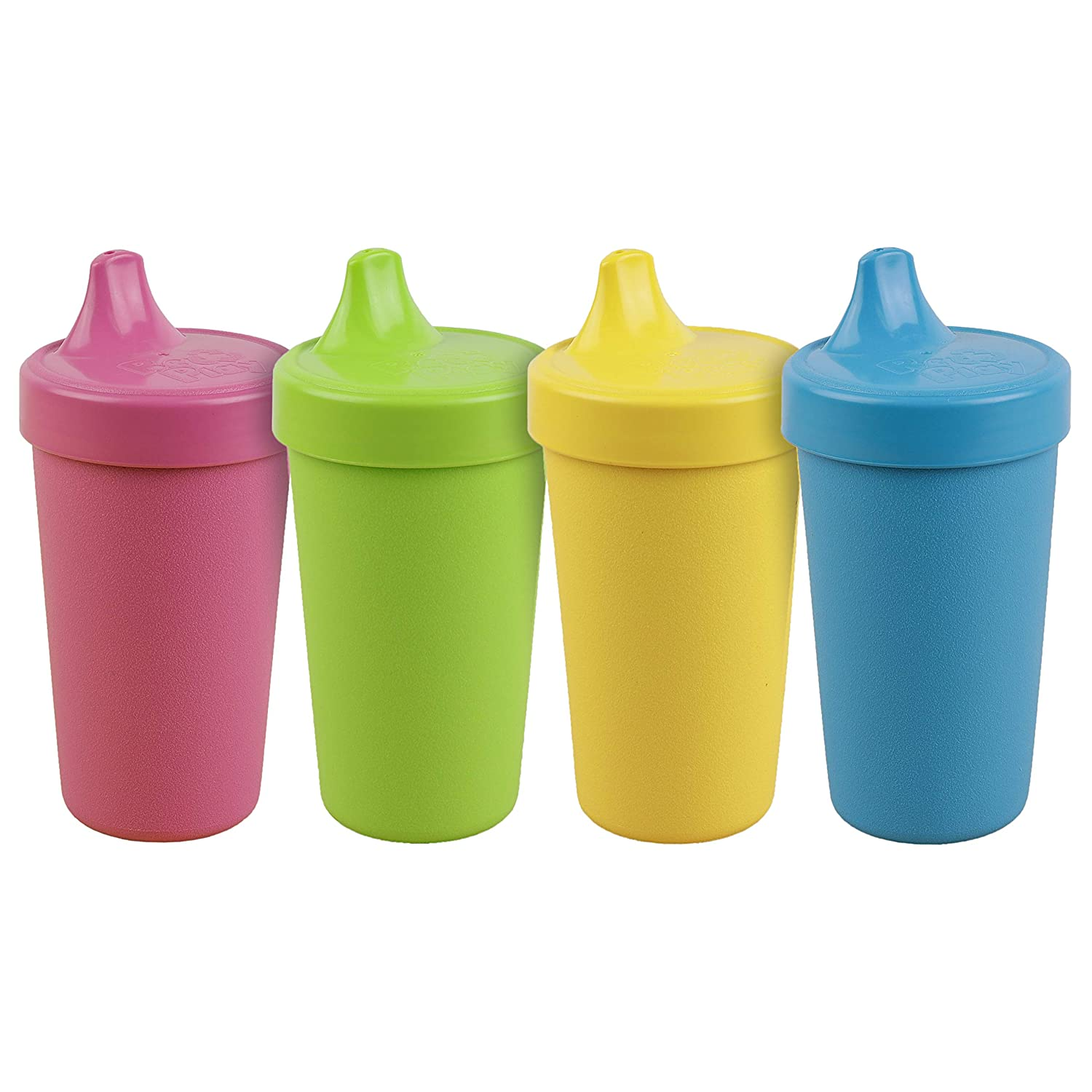 Re-Play Made in The USA 4pk No Spill Cups for Baby, Toddler, and Child Feeding in Bright Pink, Blush, Purple and Amethyst | Made from Eco Friendly Heavyweight Recycled Milk Jugs | (Princess+) : Baby