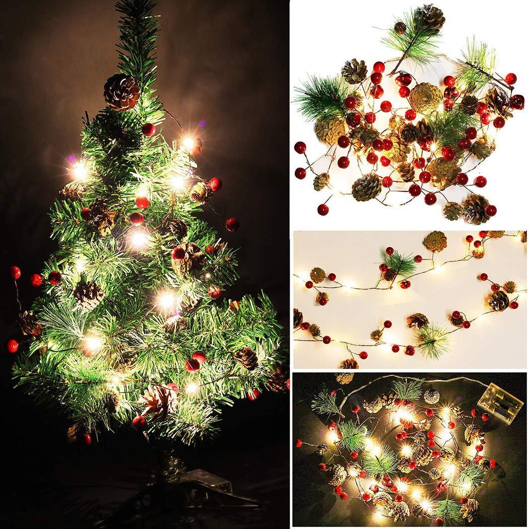 biuday Guirlande lumineuse de Noël, lumière de fée décorative de 20 LEDs arbre de Noël LED Pinecone pour la décoration de la maison de fête, batterie non incluse