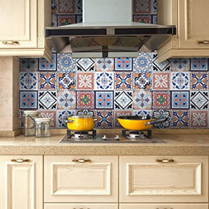 Tile Decals, Seavish Traditional Mexican Tile Sticker Vinyl Peel And Stick  Kitchen Backsplash For Interior