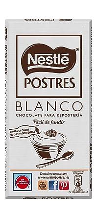 Nestlé POSTRES Chocolate Blanco para fundir - Tableta de chocolate para repostería 12x180g