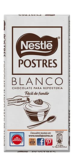 Nestlé POSTRES Chocolate Blanco para fundir - Tableta de chocolate ...