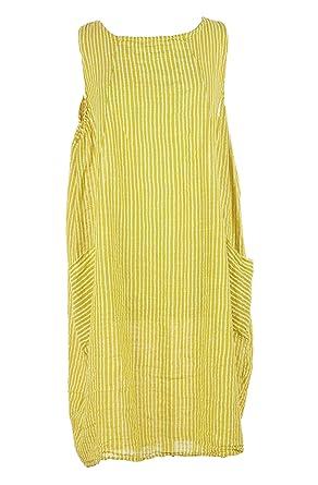 d90619d852 TEXTURE Ladies Women Italian Lagenlook Sleeveless Stripe 2 Pocket Cotton  Tulip Midi Dress One Size (Yellow