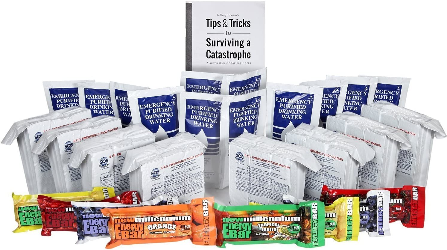 S.O.S. Rations Survival Emergency 3600 Calorie Food Bar + Pouch Emergency Purified Drinking Water + Assorted Millenium Energy bars w/Tips Guide by Jeff Brown