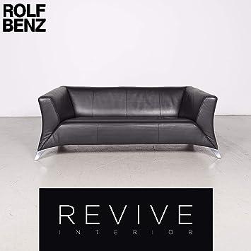 Amazon.de: BMP Rolf Benz 322 Designer Leder Sofa Schwarz ...