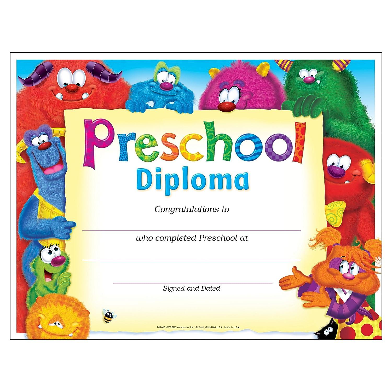 Amazon.com: Trend Enterprises Preschool Furry Friends Diploma (30 ...