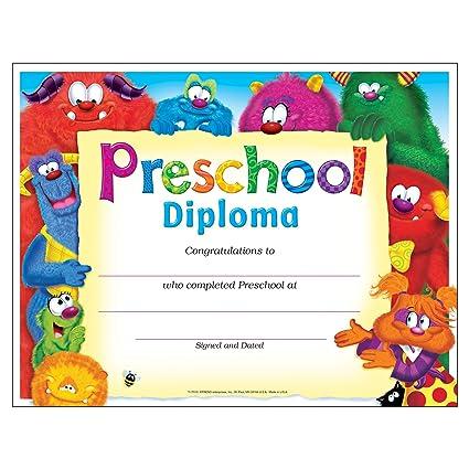 amazon com trend enterprises inc preschool diploma furry friends