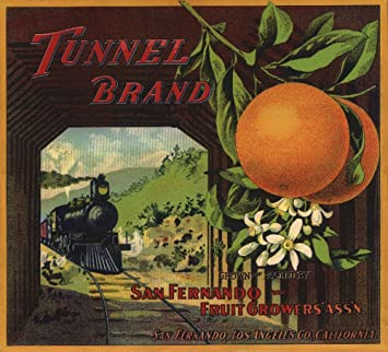 Tunnel Brand - San Fernando, California - Citrus Crate Label (12x18 Art Print,