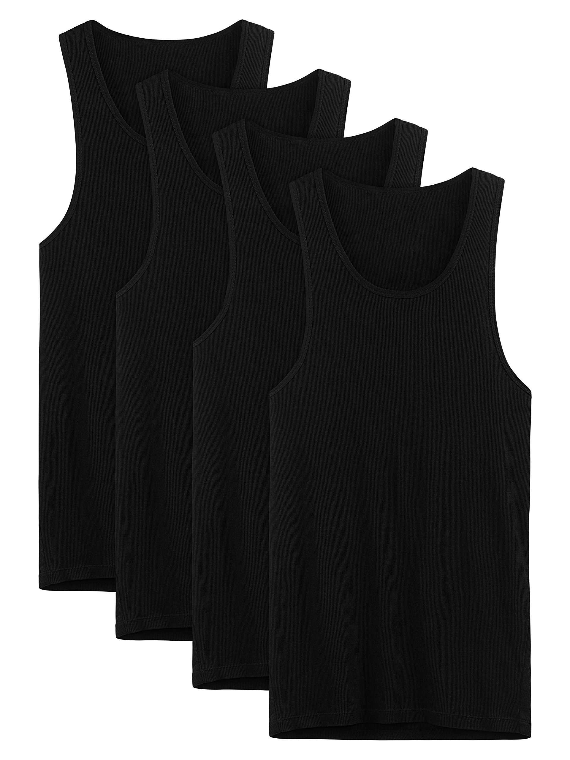 David Archy Men's 4 Pack Cotton Rib Tank Top A-Shirts Sleeveless Workout Undershirts(Black,S)
