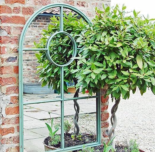 Bowley and Jackson Verde Retro Arco Ventana Espejo de jardín ...