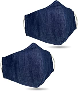 product image for 2 PCS USA Cloth Face Mask, Soft Washed Denim 100% Cotton Adult Face Mask, Double Layers Filter Pocket and Nose Strip for a higher level of protection, Reusable & Machine Washable - Made in USA