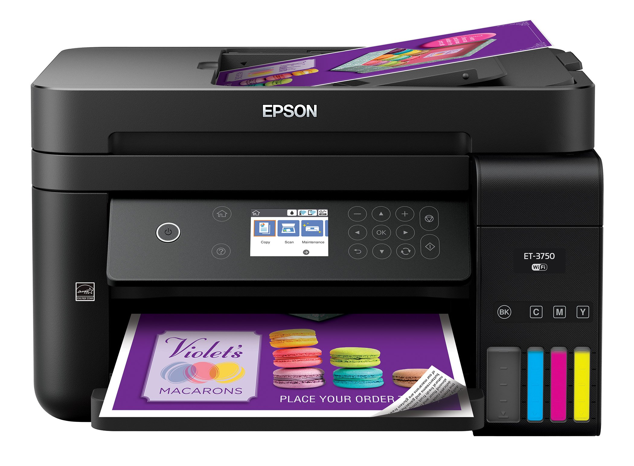 Epson Workforce ET-3750 EcoTank Wireless Color All-in-One Supertank Printer with Scanner, Copier and Ethernet (Renewed)